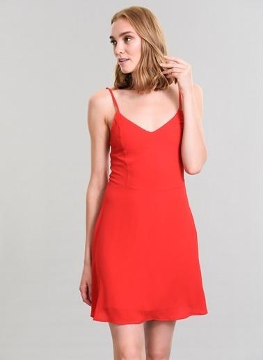 Agenda Sırtı Bağcık Detaylı Elbise Kırmızı